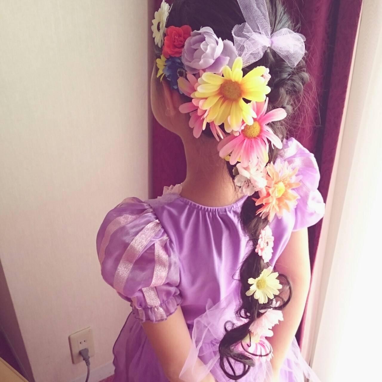 ブライダル 三つ編み ヘアアレンジ ミディアムヘアスタイルや髪型の写真・画像