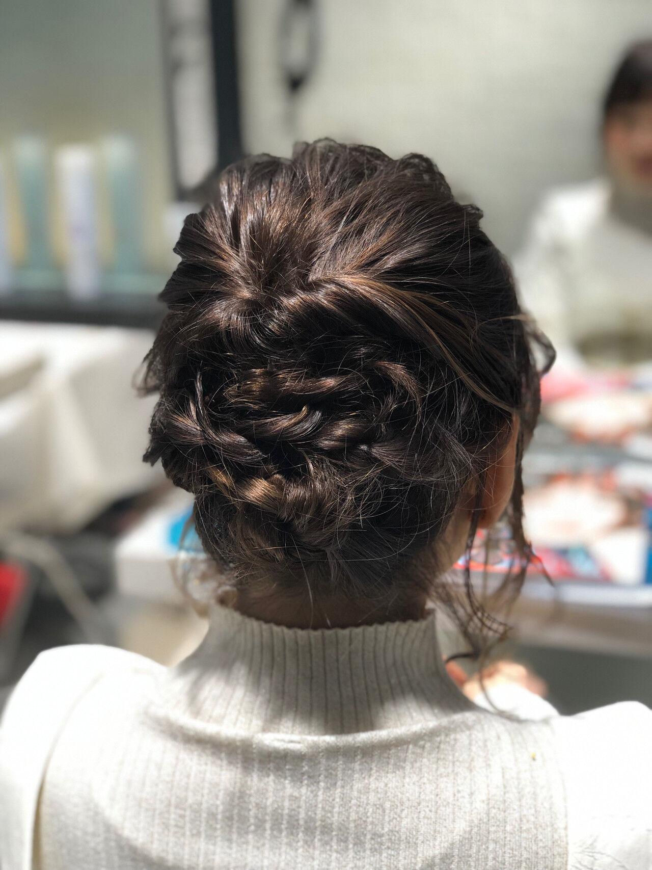 波巻き ミディアム デート ナチュラルヘアスタイルや髪型の写真・画像