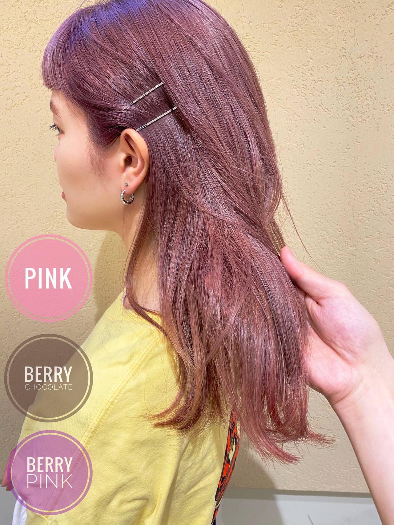 ピンク 春色 ブリーチ ミディアムヘアスタイルや髪型の写真・画像