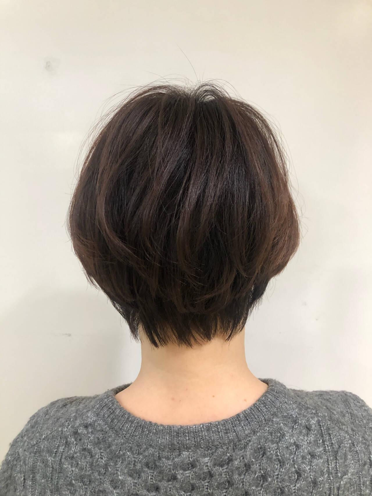 ミニボブ ハンサムショート ショートボブ マッシュショートヘアスタイルや髪型の写真・画像