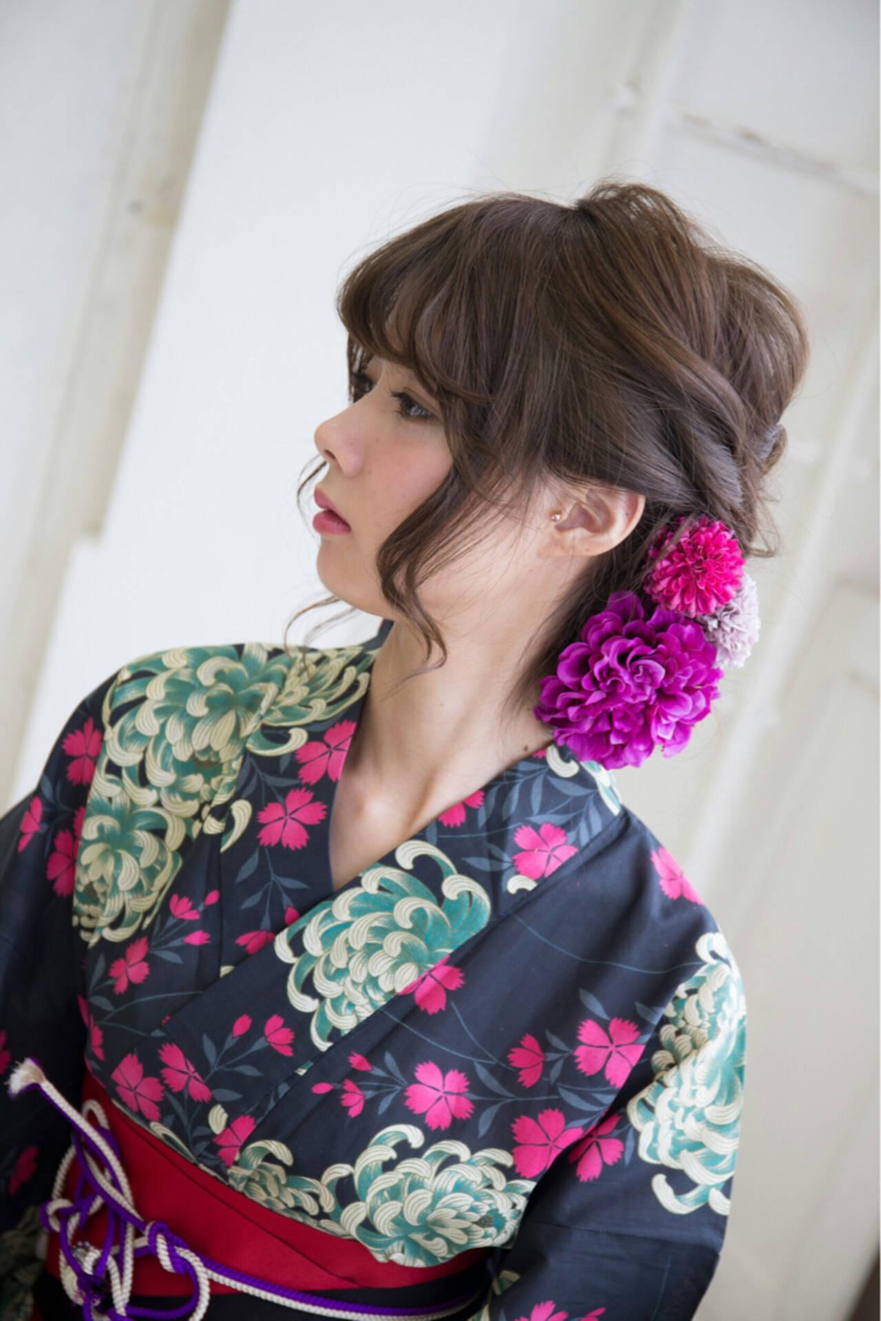 和装 花火大会 夏 まとめ髪ヘアスタイルや髪型の写真・画像