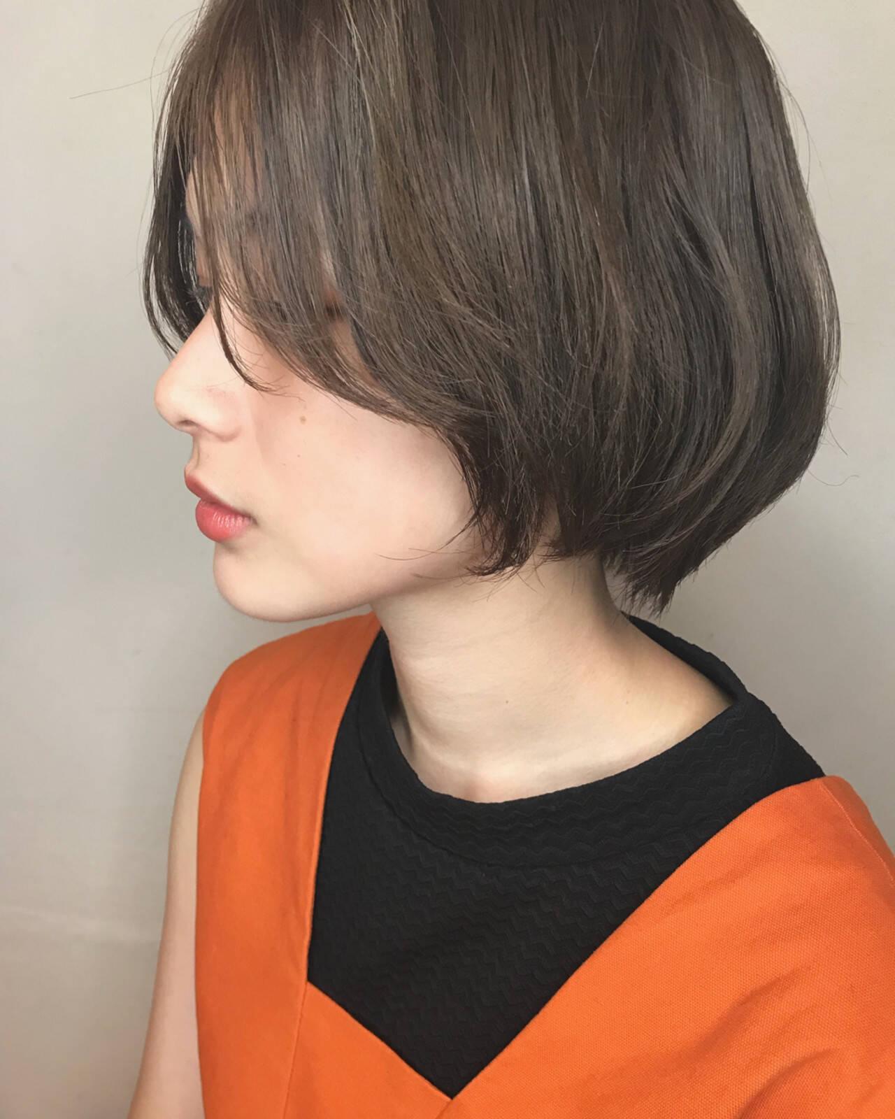 小顔 ボブ センターパート ゆるふわヘアスタイルや髪型の写真・画像