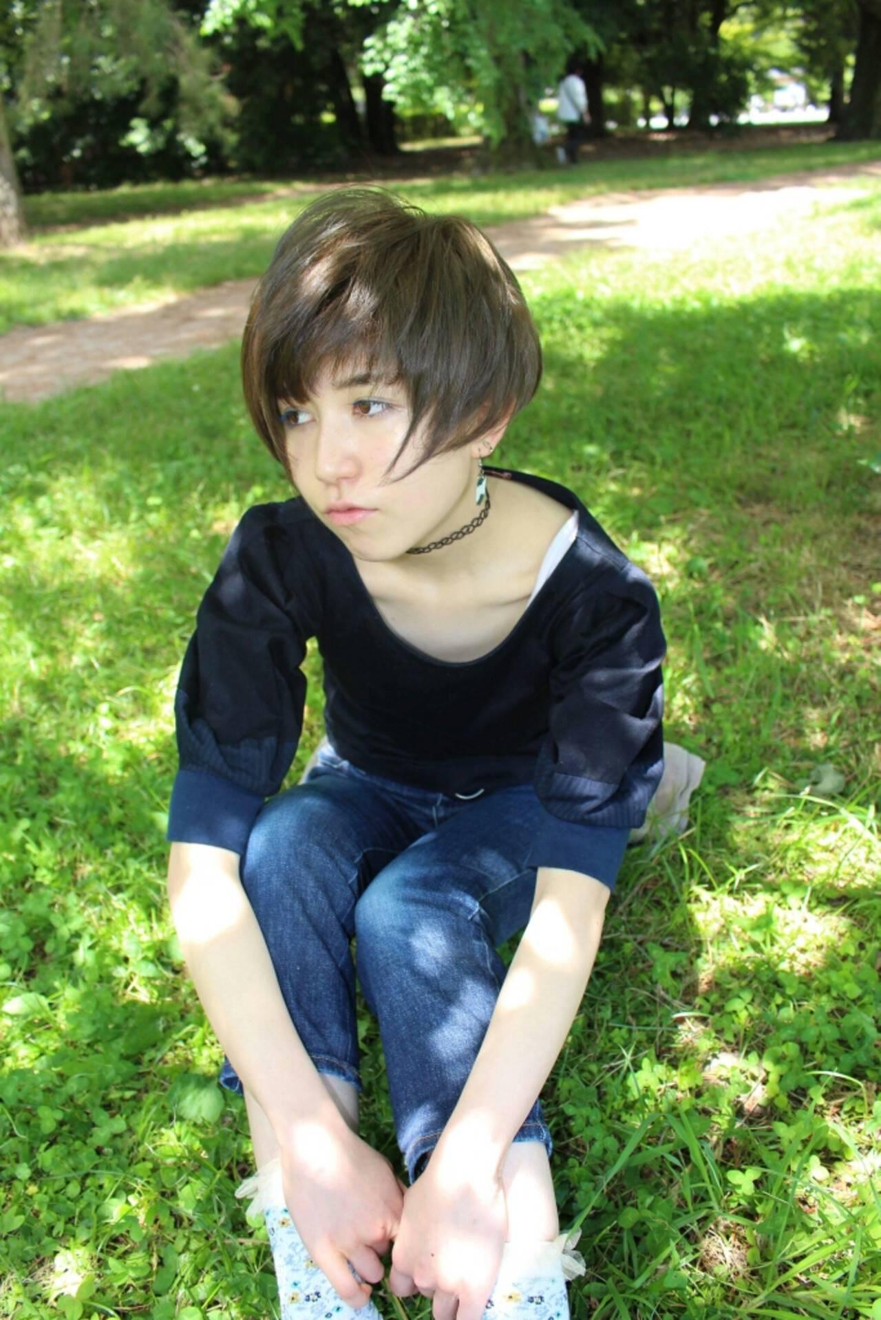 フェミニン ショート 色気ヘアスタイルや髪型の写真・画像