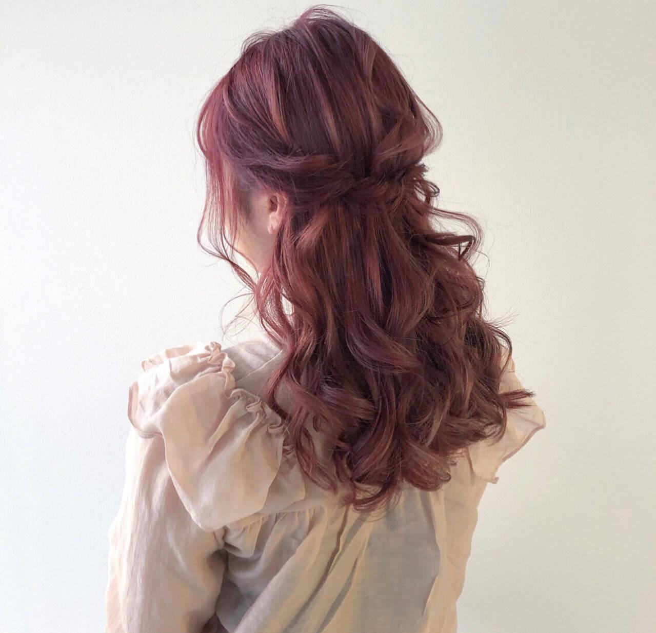 ヘアアレンジ ロング ハーフアップ ガーリーヘアスタイルや髪型の写真・画像