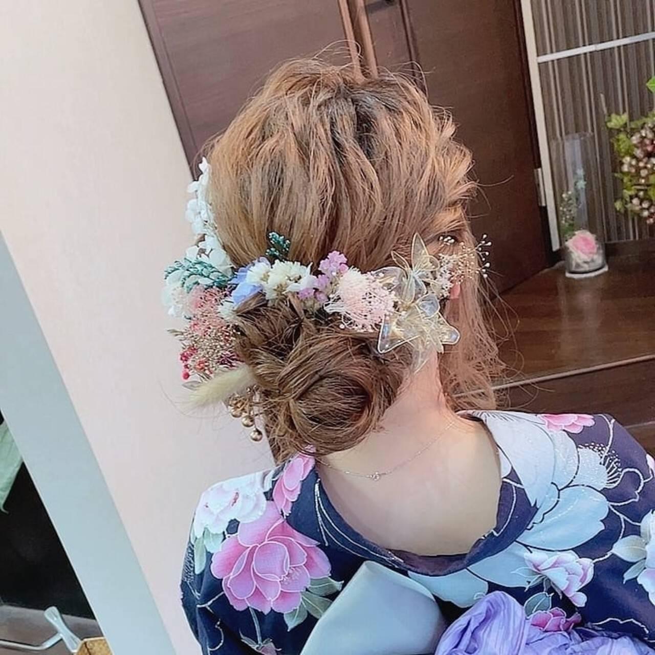 ヘアアレンジ ロング 浴衣ヘア ナチュラルヘアスタイルや髪型の写真・画像