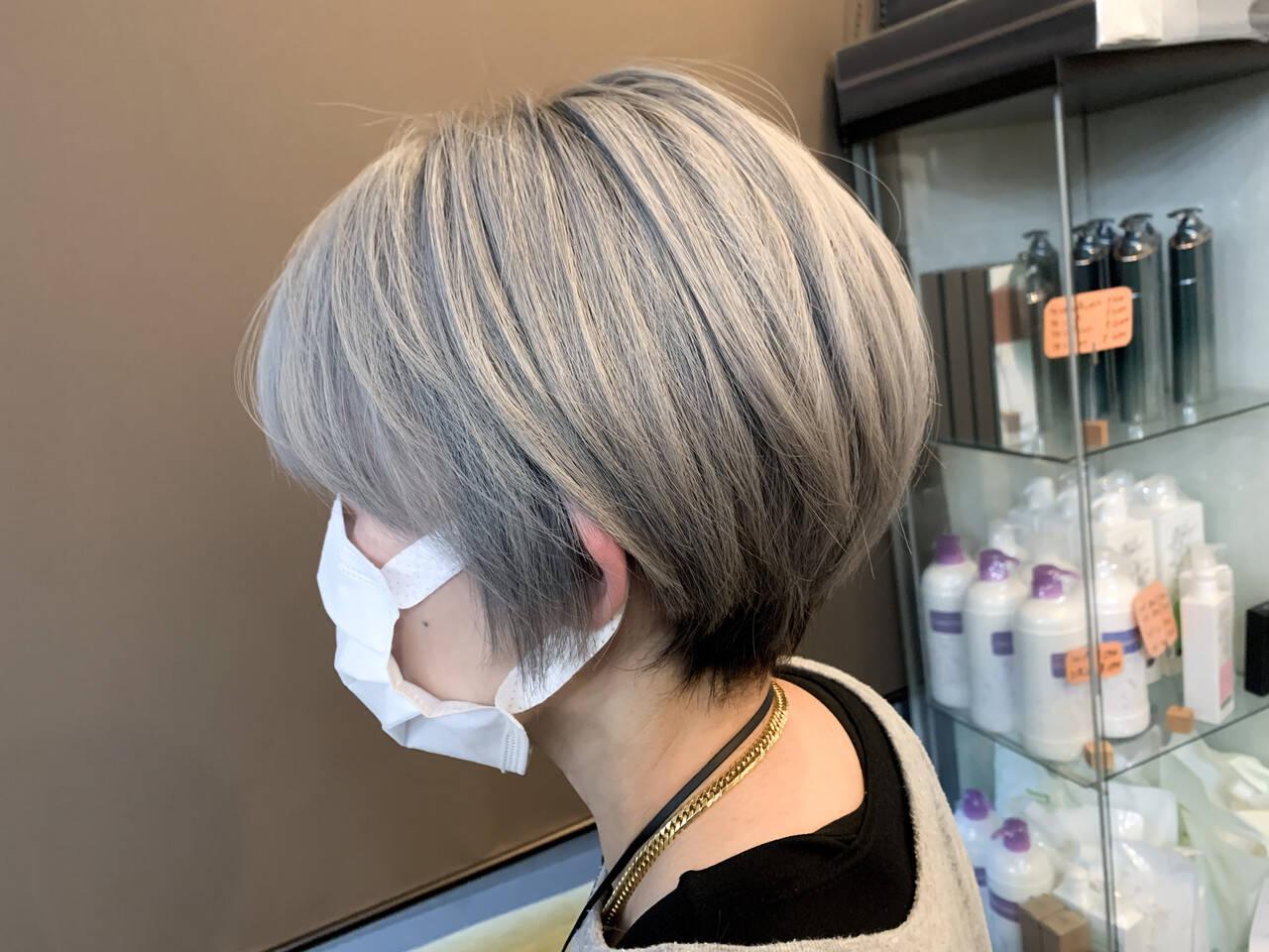 グレージュ 外国人風カラー ナチュラル ショートボブヘアスタイルや髪型の写真・画像