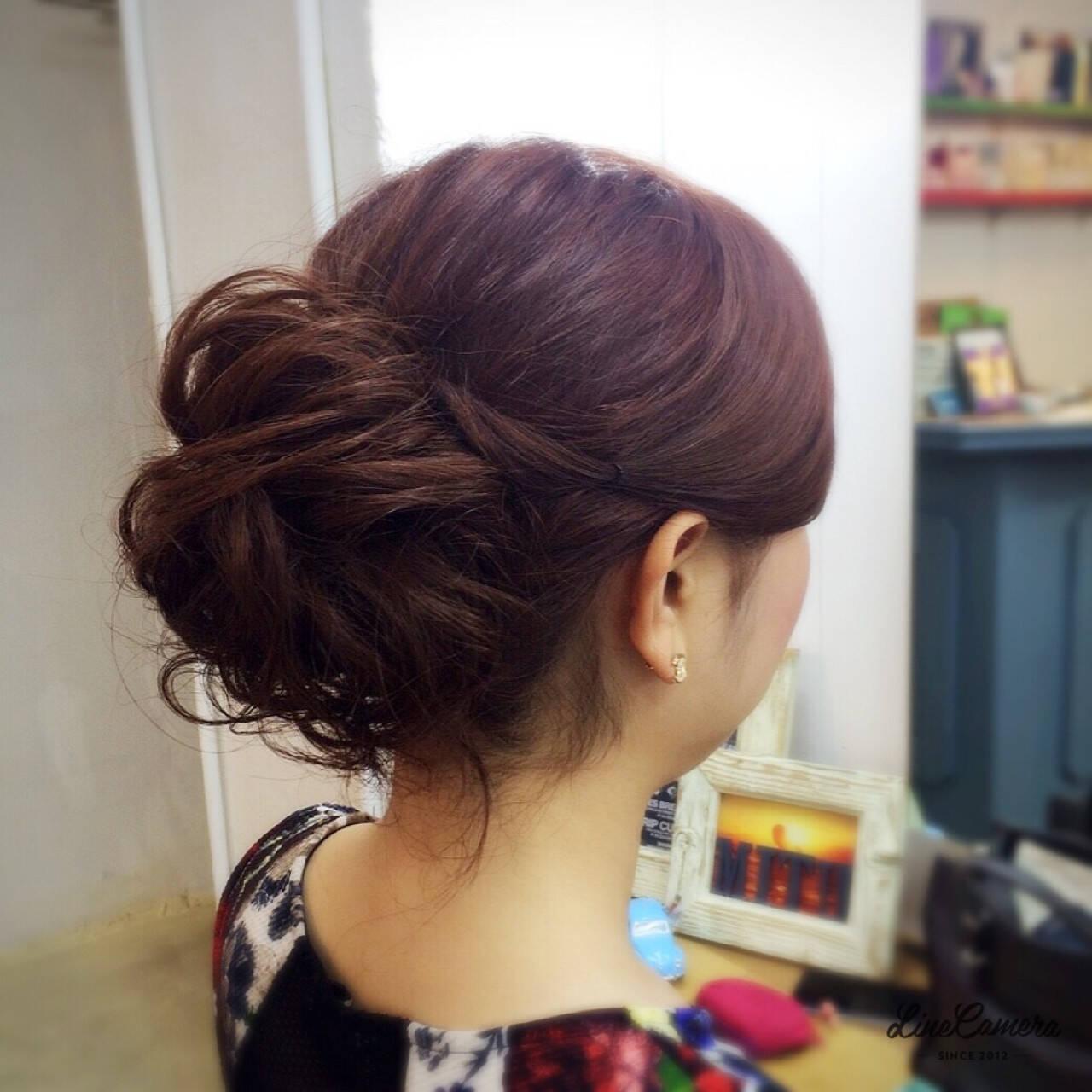 アップスタイル ねじり セミロング 簡単ヘアアレンジヘアスタイルや髪型の写真・画像