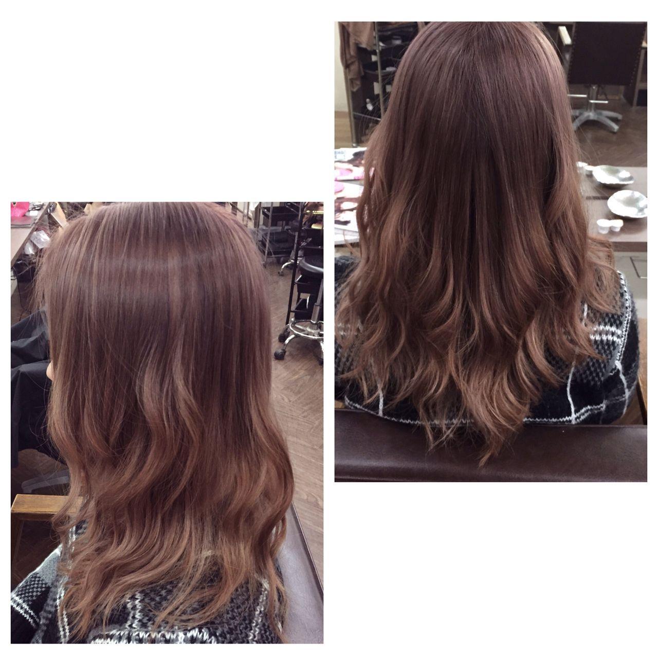セミロング ガーリー ピンク ストリートヘアスタイルや髪型の写真・画像
