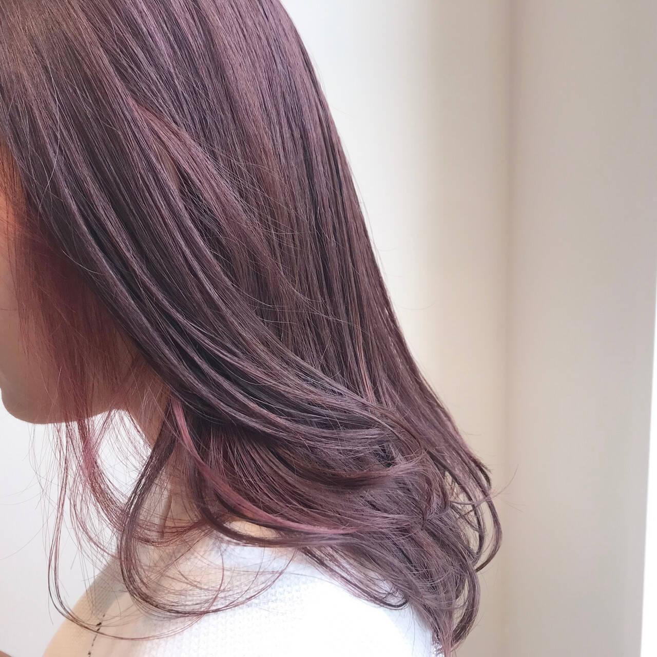 透明感カラー デート ピンクベージュ ブリーチ無しヘアスタイルや髪型の写真・画像