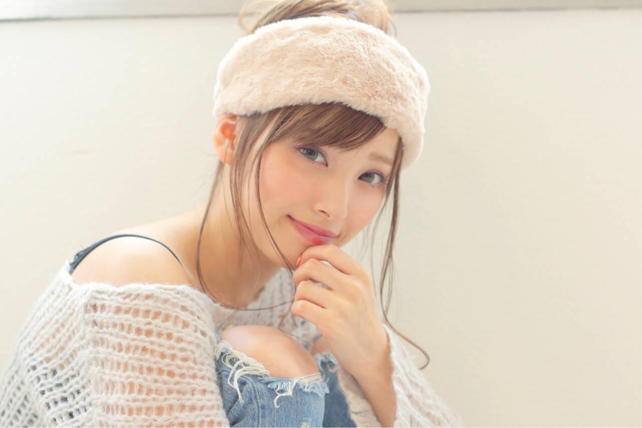 ヘアアクセ 簡単ヘアアレンジ ピュア ロングヘアスタイルや髪型の写真・画像
