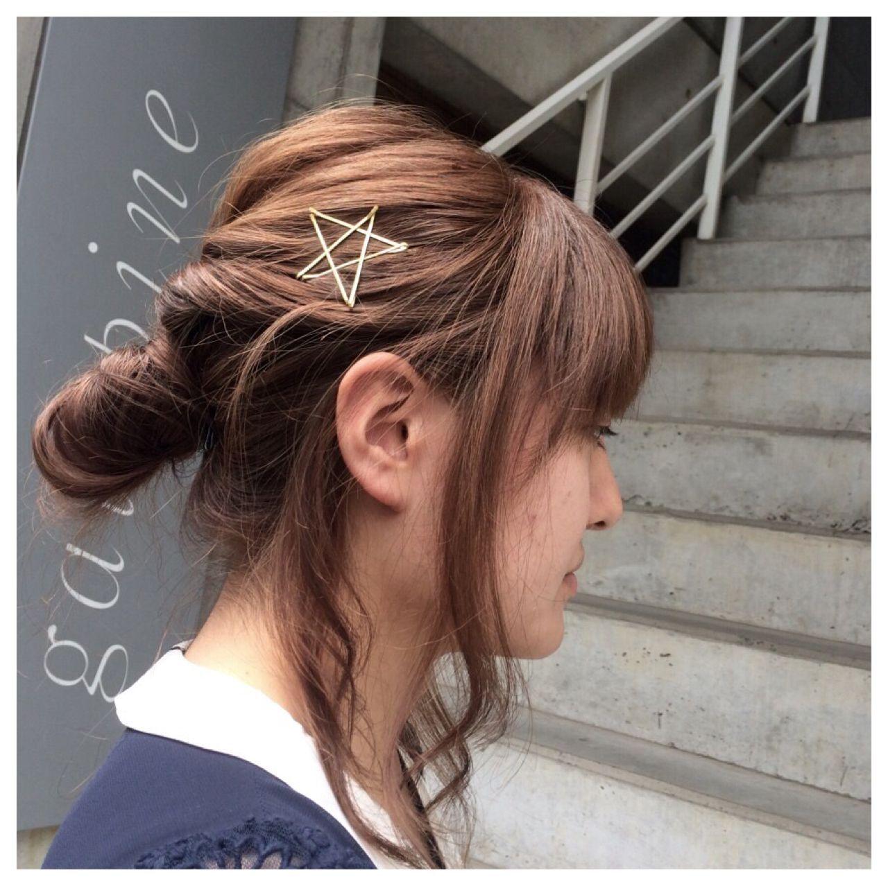 簡単ヘアアレンジ くるりんぱ ヘアアクセ ヘアアレンジヘアスタイルや髪型の写真・画像