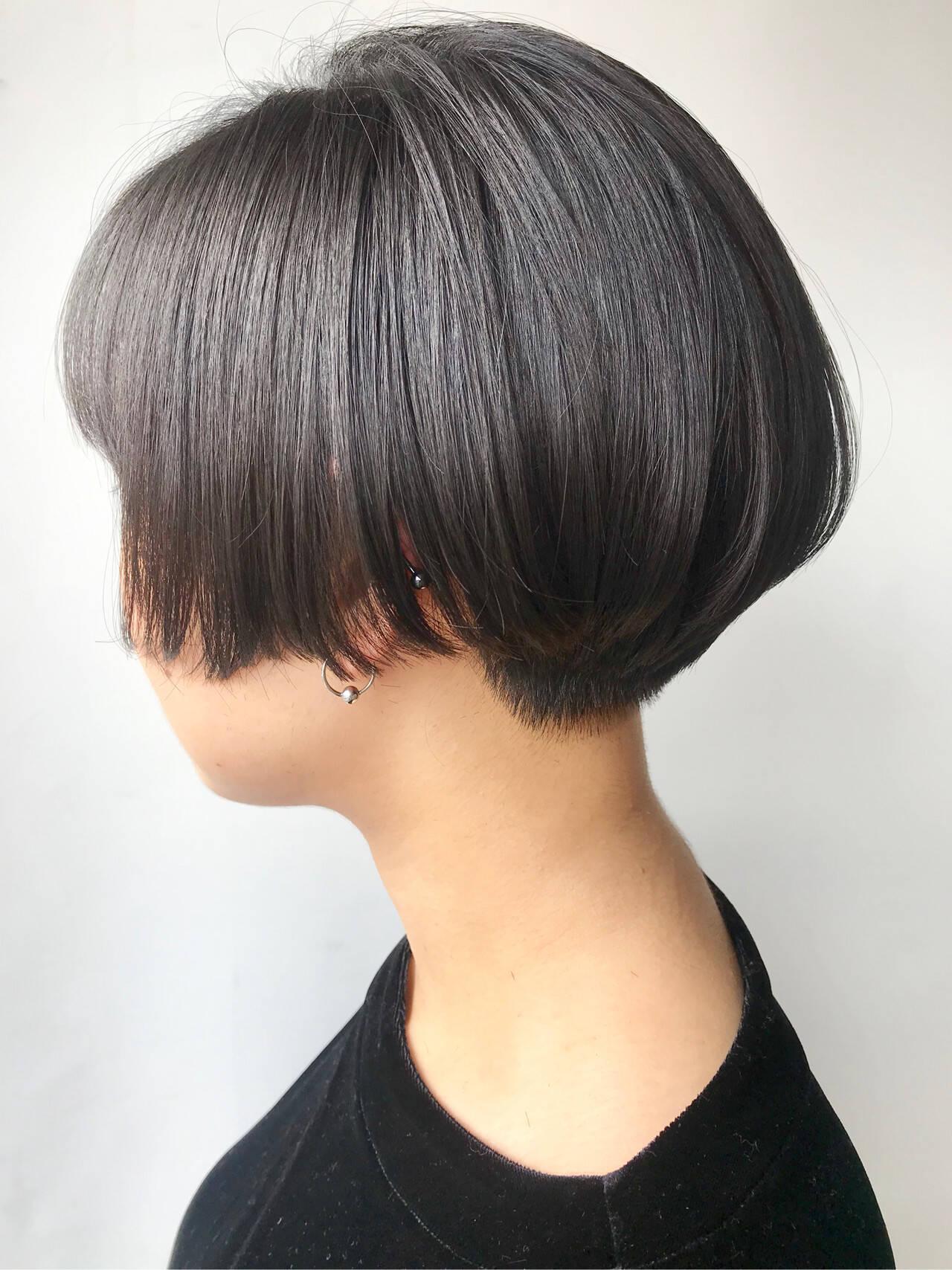 ハンサムショート ハンサム 黒髪 ハンサムボブヘアスタイルや髪型の写真・画像