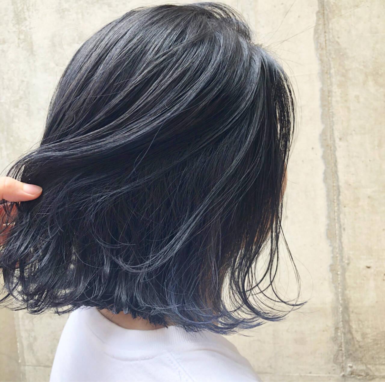 インナーカラー ネイビー 外国人風カラー ストリートヘアスタイルや髪型の写真・画像