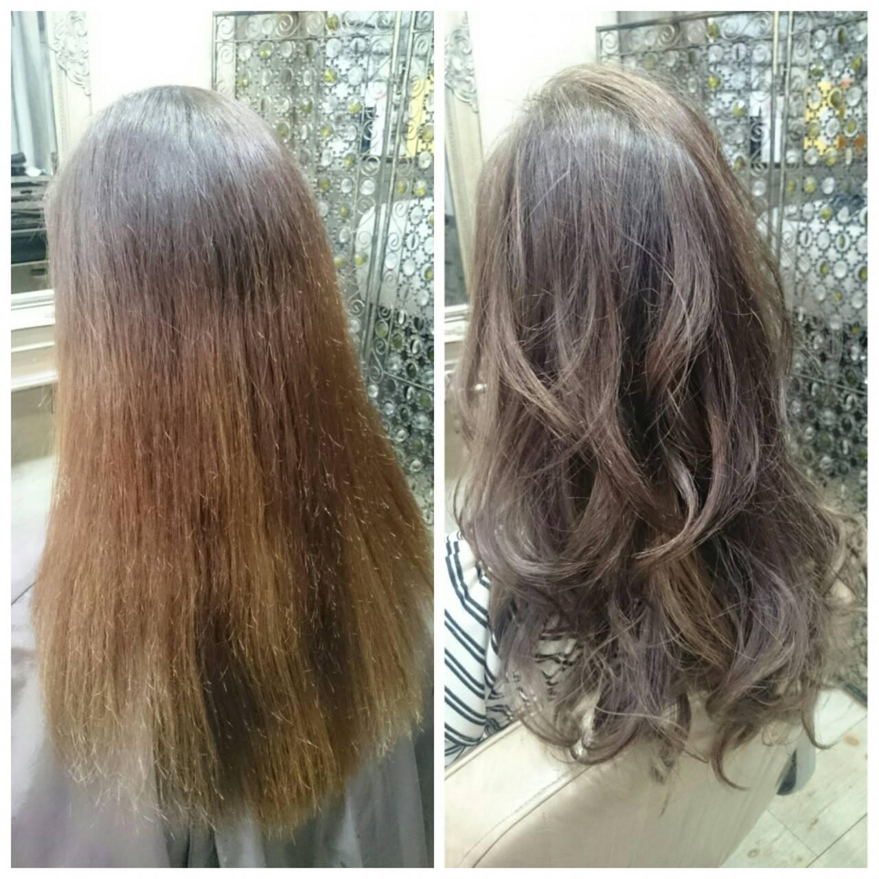 ロング アッシュ 外国人風 ハイライトヘアスタイルや髪型の写真・画像