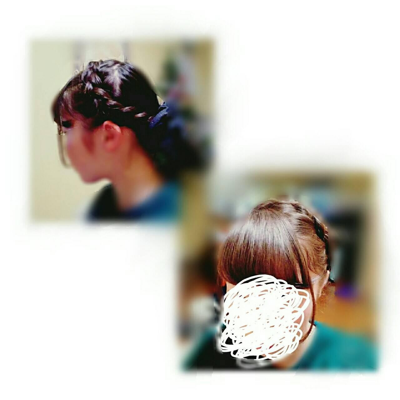 編み込み フェミニン ショート ガーリーヘアスタイルや髪型の写真・画像