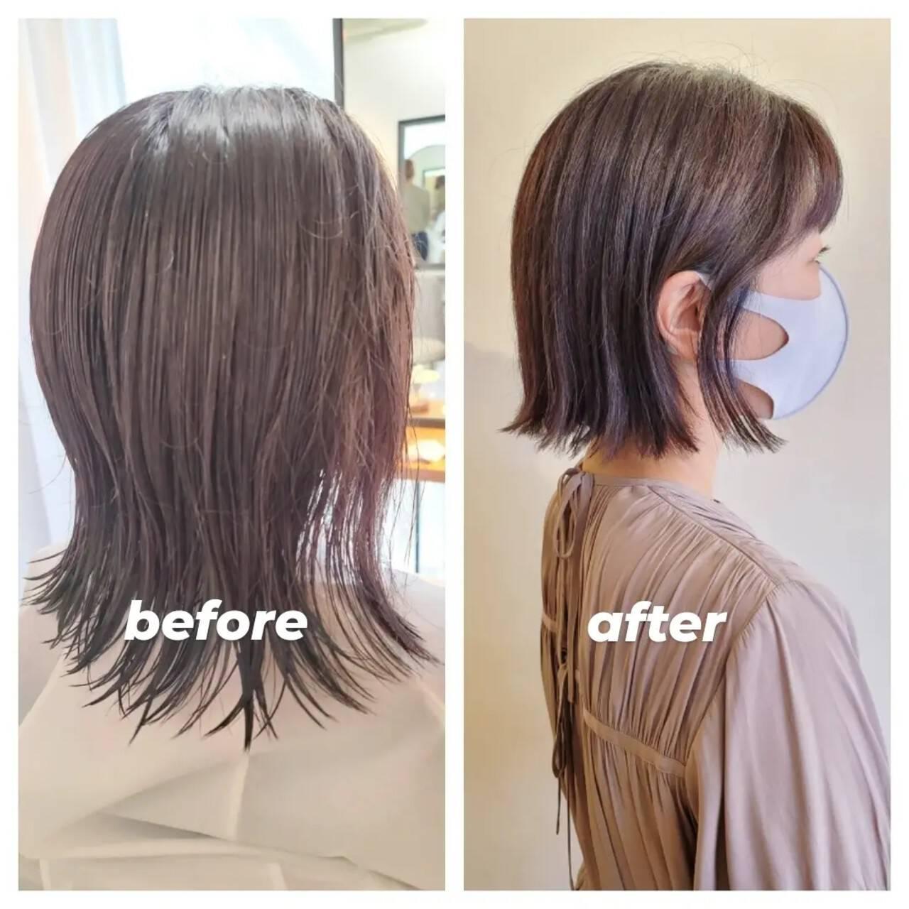 切りっぱなしボブ ナチュラル ミニボブ 切りっぱなしヘアスタイルや髪型の写真・画像