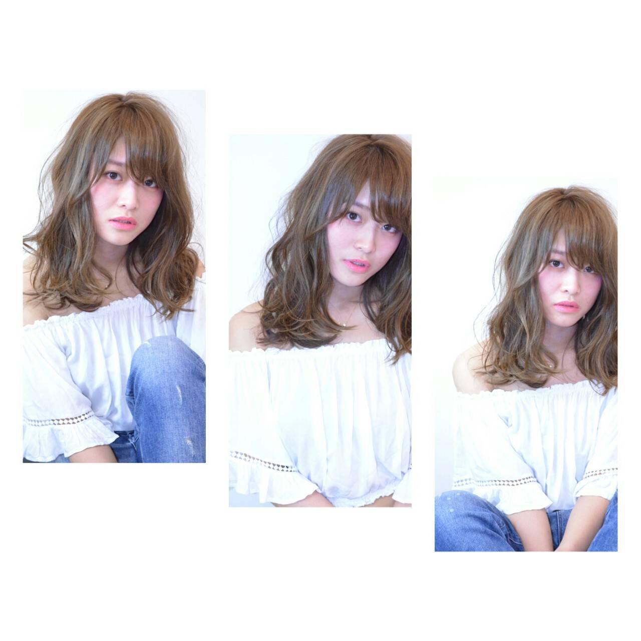ハイライト ミディアム 春 ナチュラルヘアスタイルや髪型の写真・画像