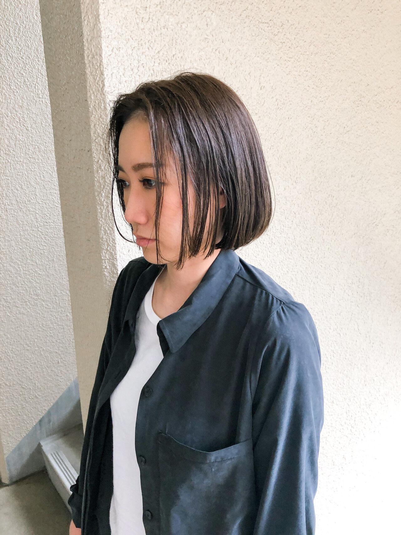 ナチュラル ボブ くすみカラーヘアスタイルや髪型の写真・画像