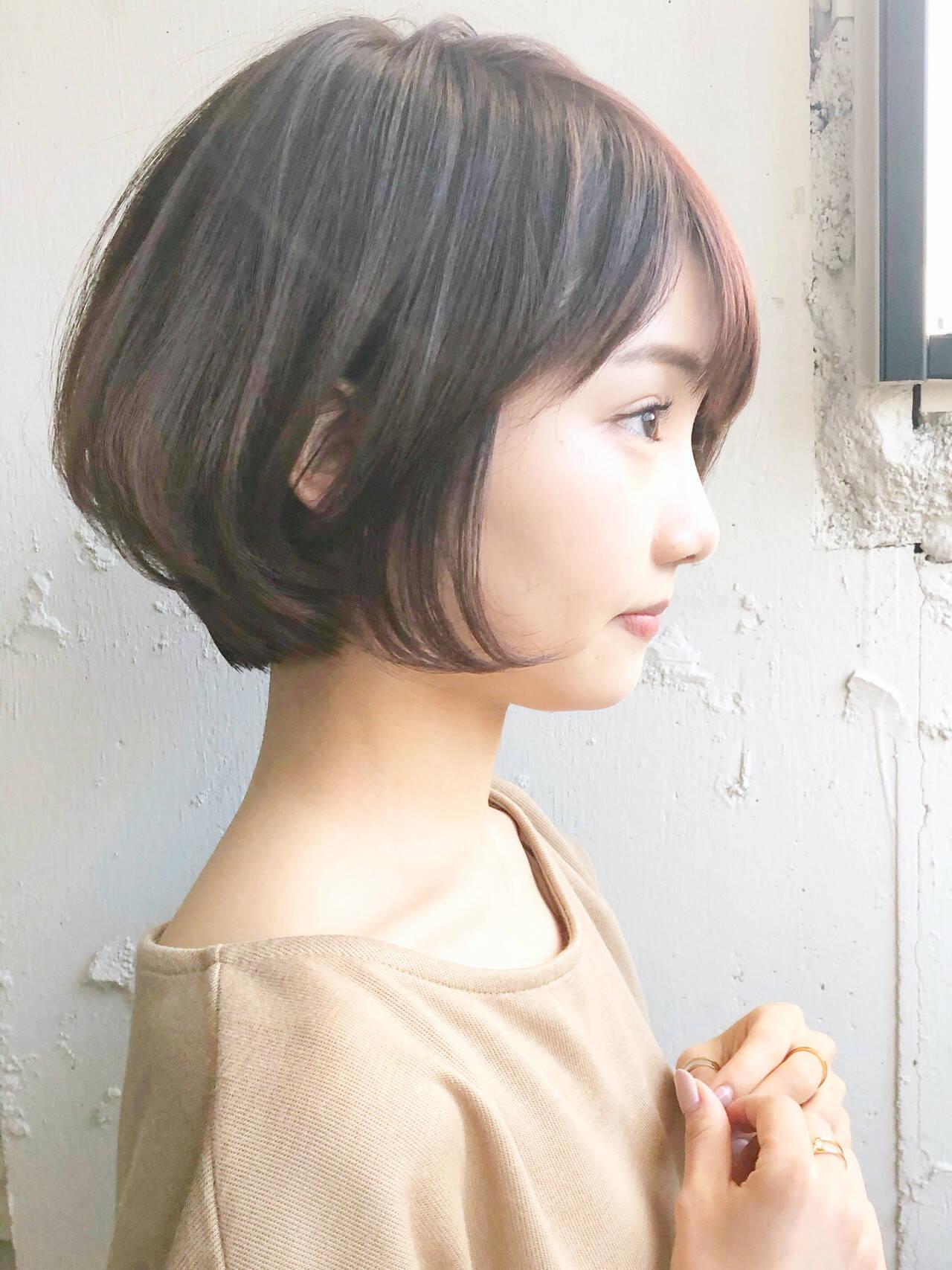 ミニボブ 切りっぱなしボブ ショートヘア ショートヘアスタイルや髪型の写真・画像
