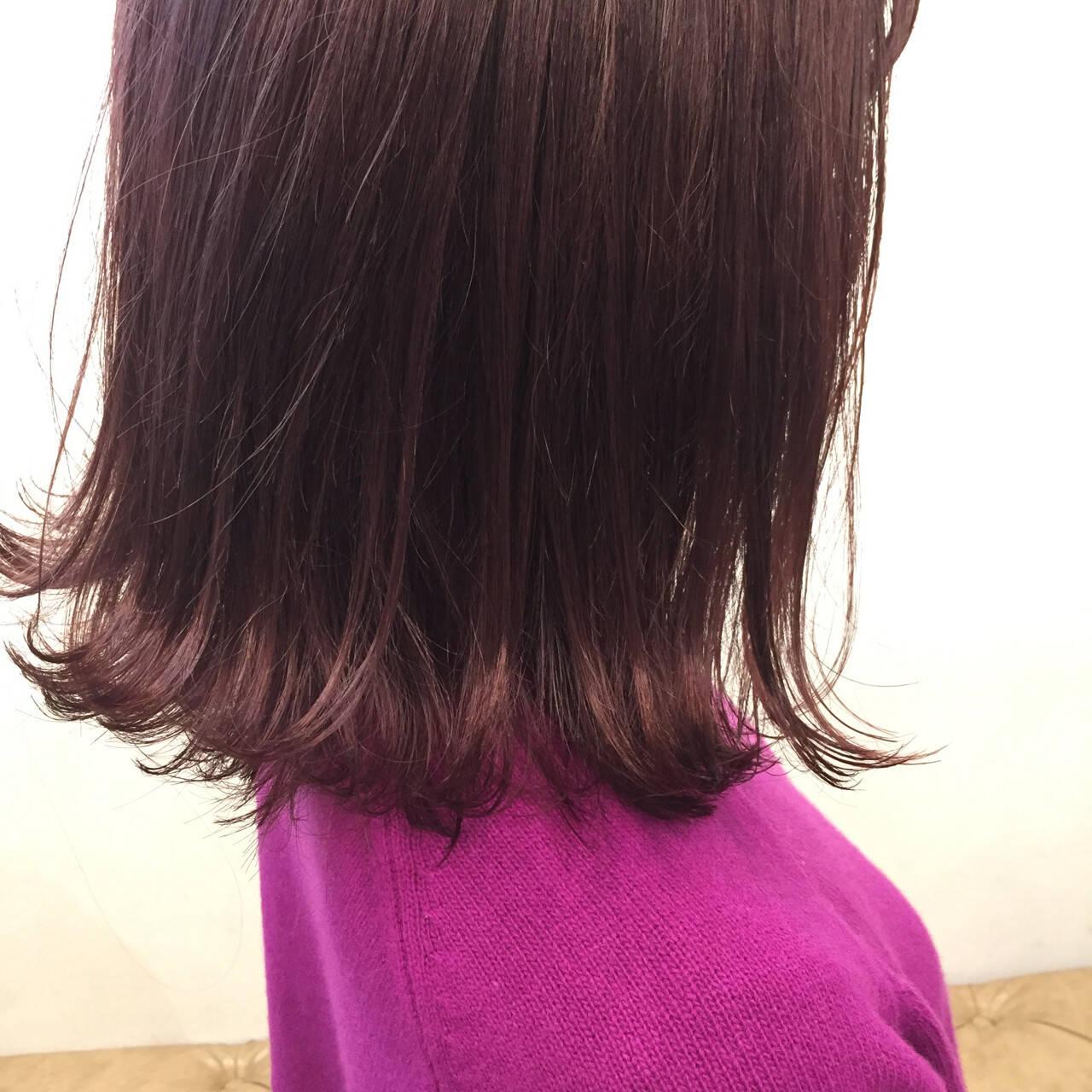 ストリート ピンク ボブ ミディアムヘアスタイルや髪型の写真・画像