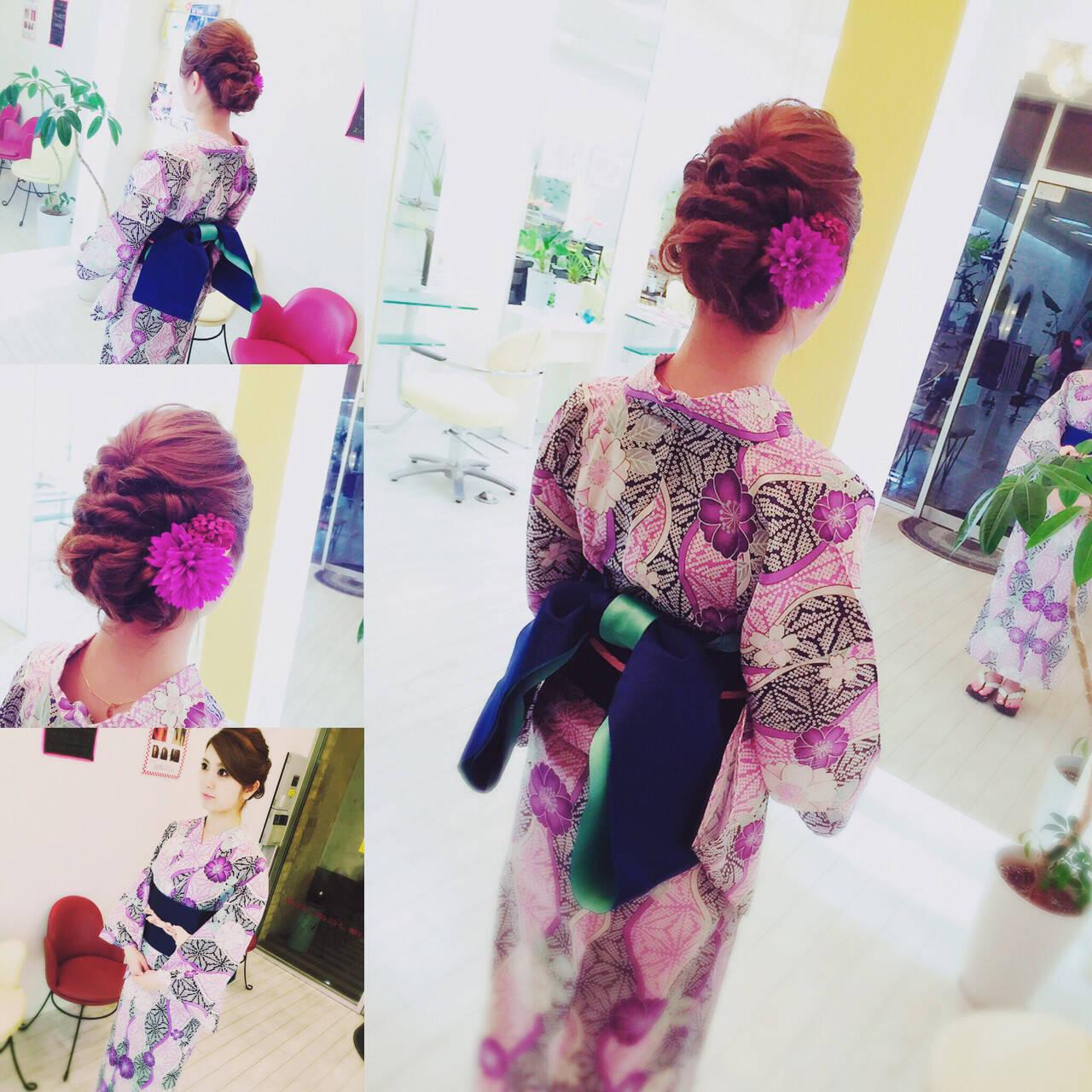夏 和装 ロング ヘアアレンジヘアスタイルや髪型の写真・画像