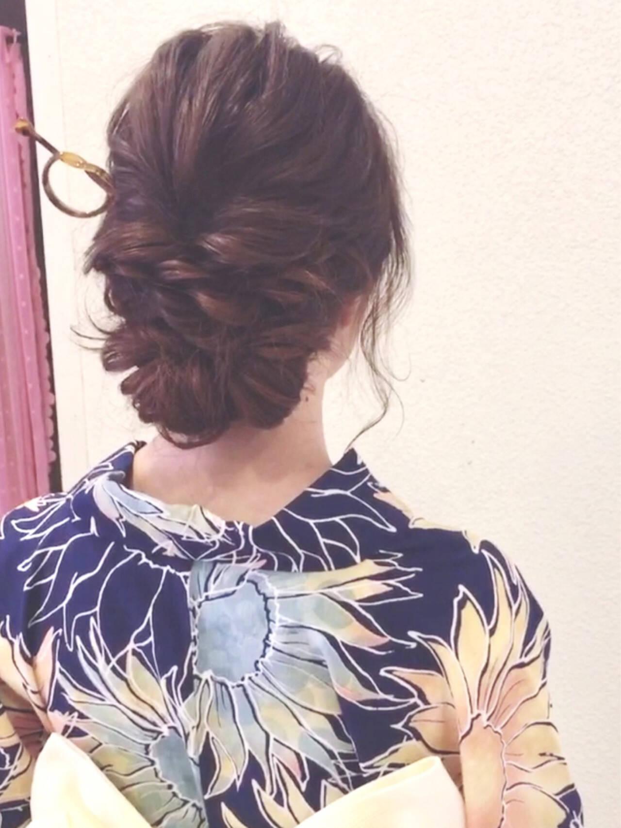 ナチュラル ヘアアレンジ 花火大会 お祭りヘアスタイルや髪型の写真・画像