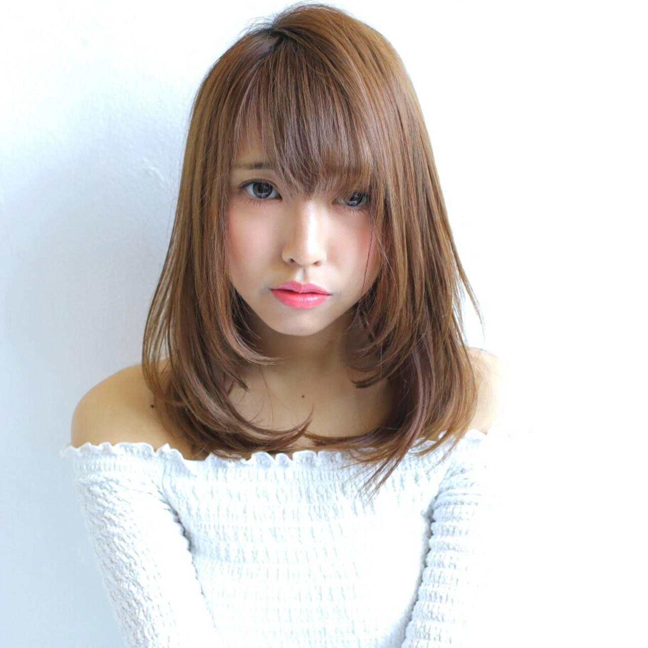 パーマ 縮毛矯正 ミディアム デートヘアスタイルや髪型の写真・画像