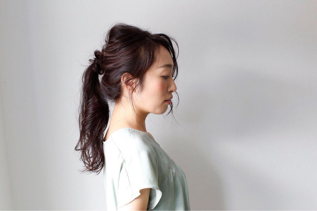 ロング 女子力 簡単ヘアアレンジ ナチュラルヘアスタイルや髪型の写真・画像