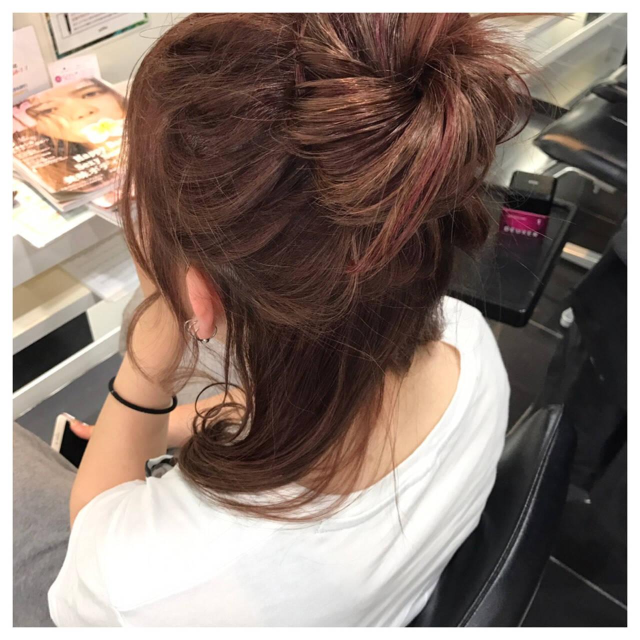 簡単ヘアアレンジ ミディアム ガーリー 女子会ヘアスタイルや髪型の写真・画像