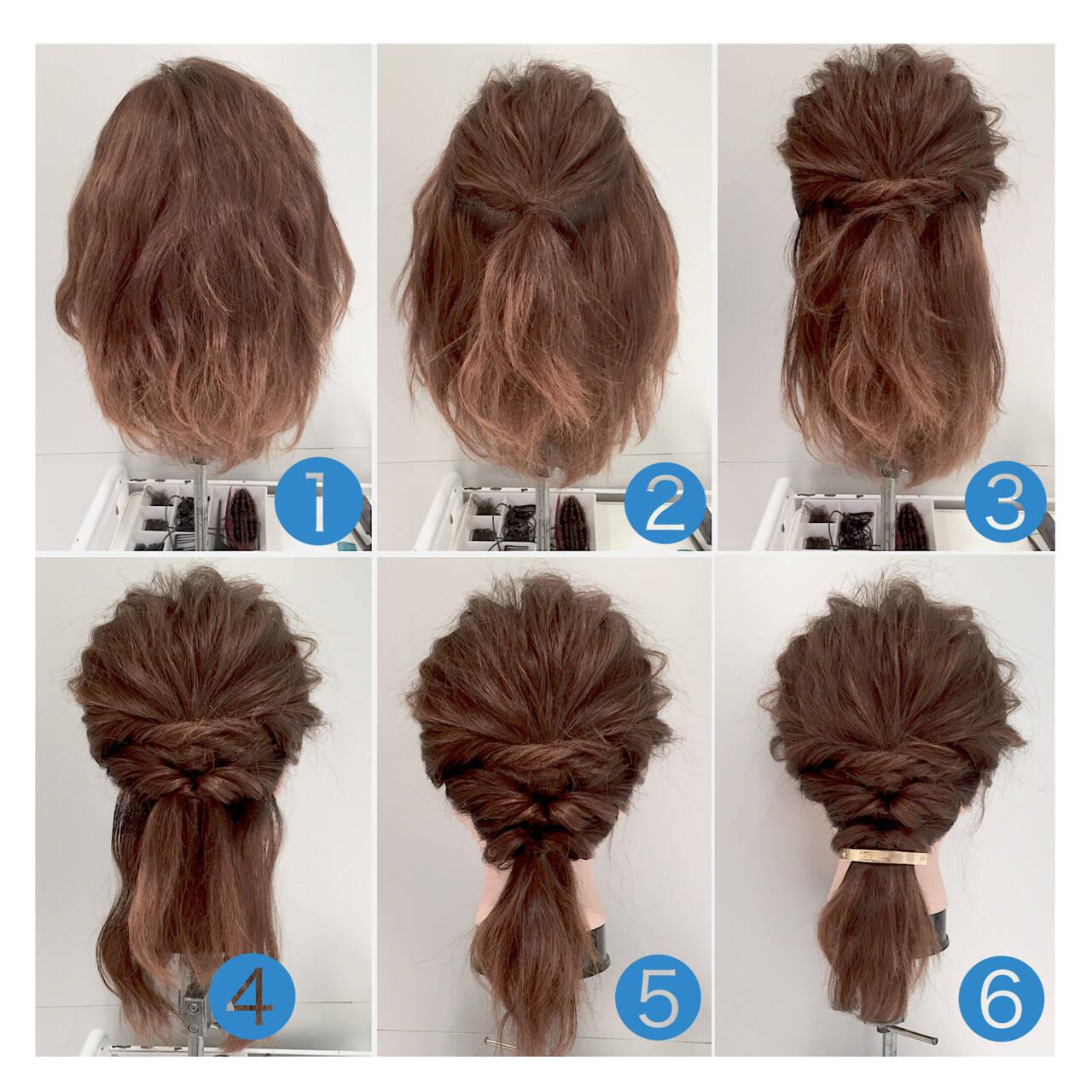 ヘアアレンジ ミディアム ショート 簡単ヘアアレンジヘアスタイルや髪型の写真・画像