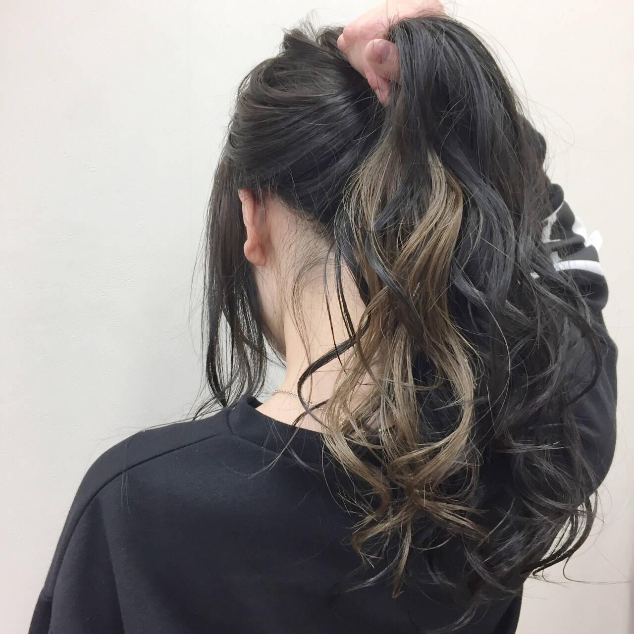 アッシュ ロング 黒髪 秋ヘアスタイルや髪型の写真・画像