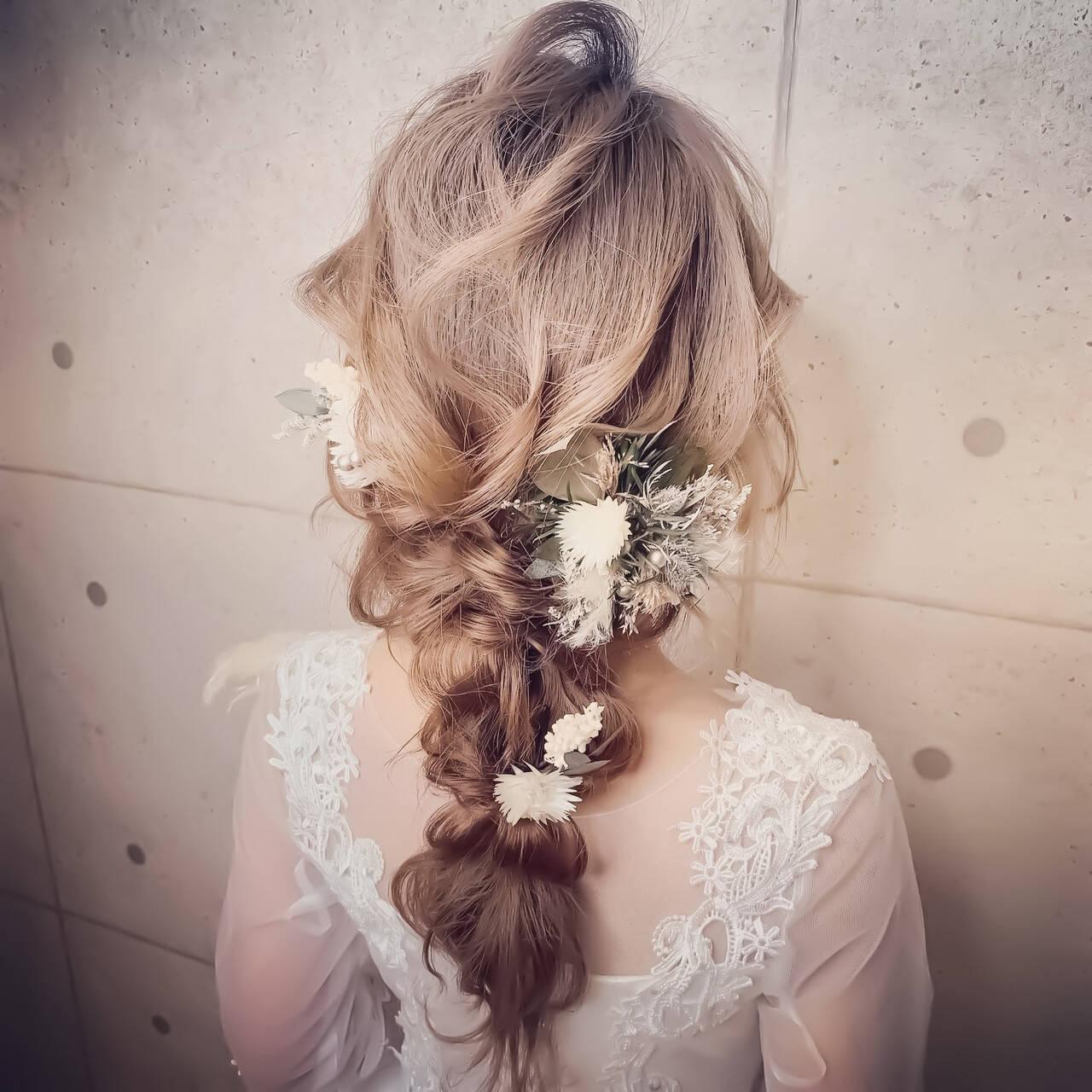 ロング エレガント セルフヘアアレンジ 結婚式ヘアスタイルや髪型の写真・画像
