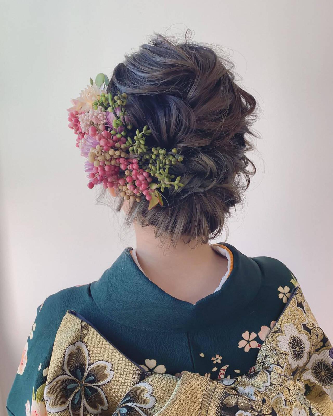 結婚式 フェミニン ブライダル ヘアアレンジヘアスタイルや髪型の写真・画像