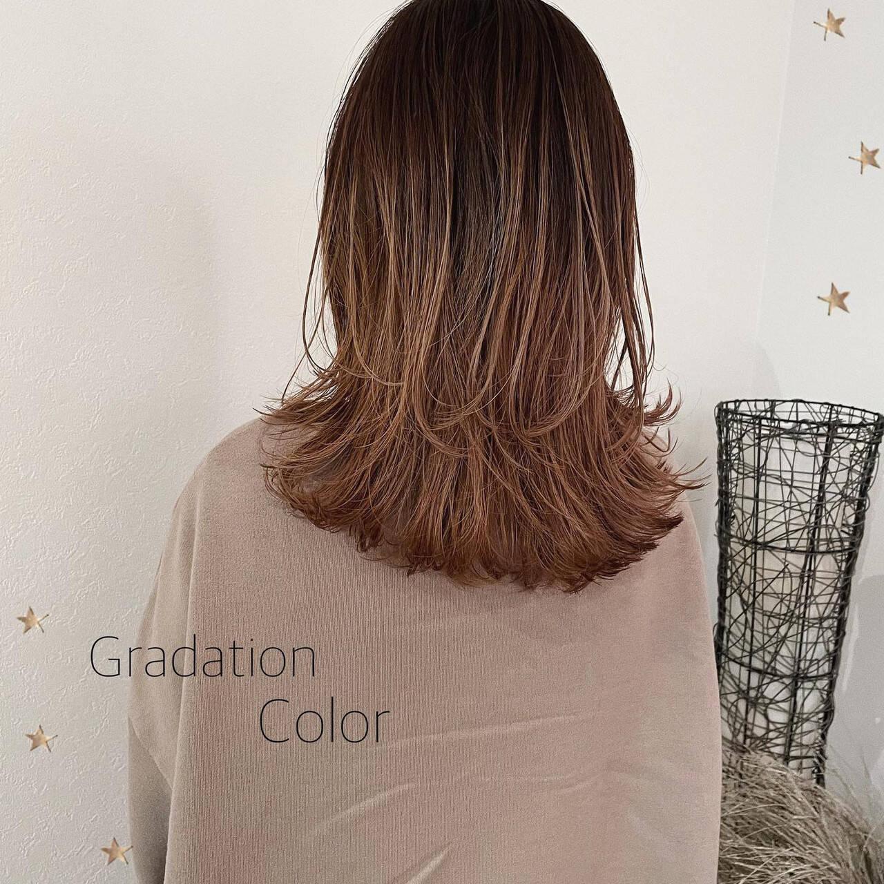 ウルフカット グラデーションカラー セミロング バイヤレージュヘアスタイルや髪型の写真・画像