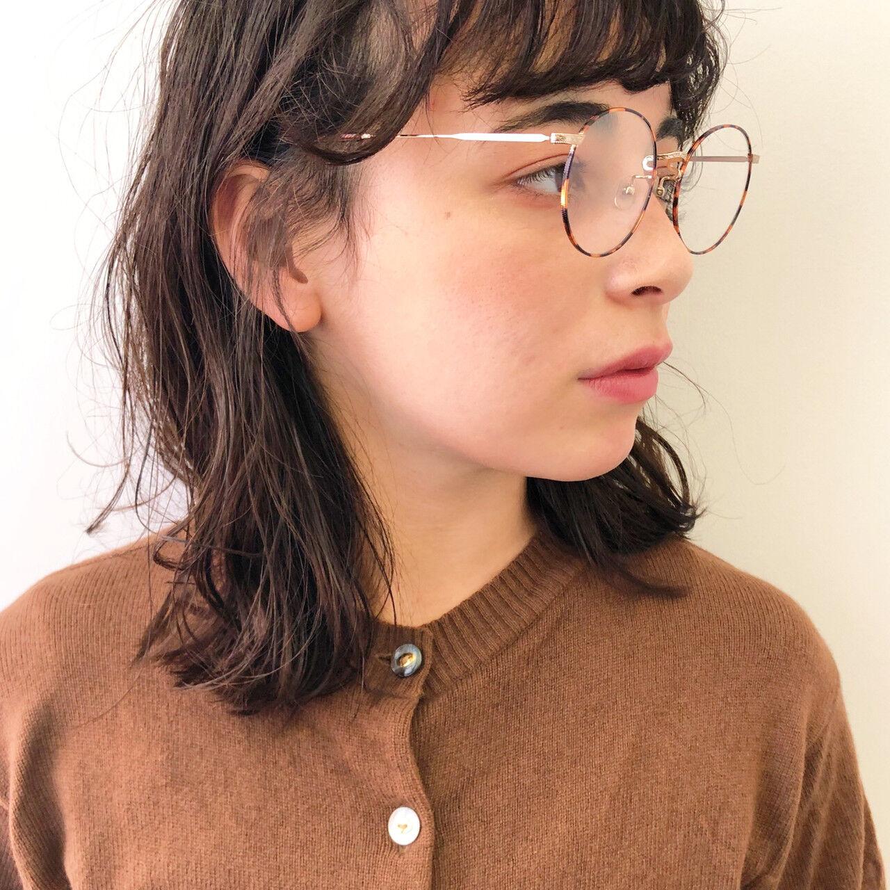 ミディアム 黒髪 パーマ 外国人風パーマヘアスタイルや髪型の写真・画像