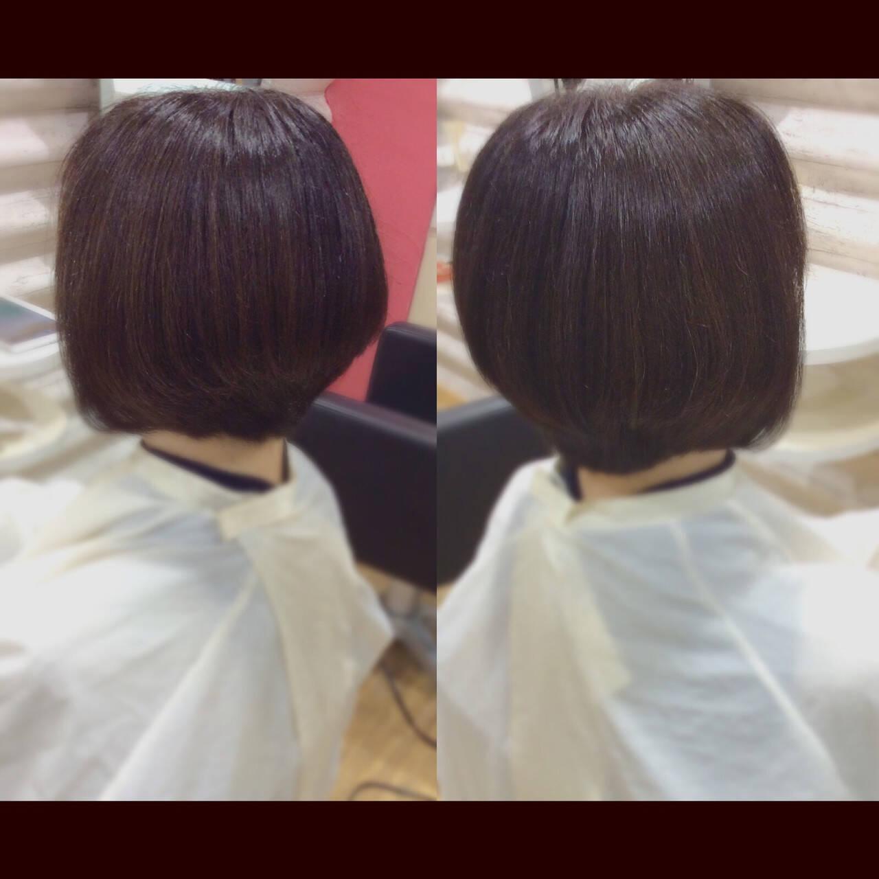 ミニボブ ボブ 髪質改善トリートメント 髪質改善カラーヘアスタイルや髪型の写真・画像