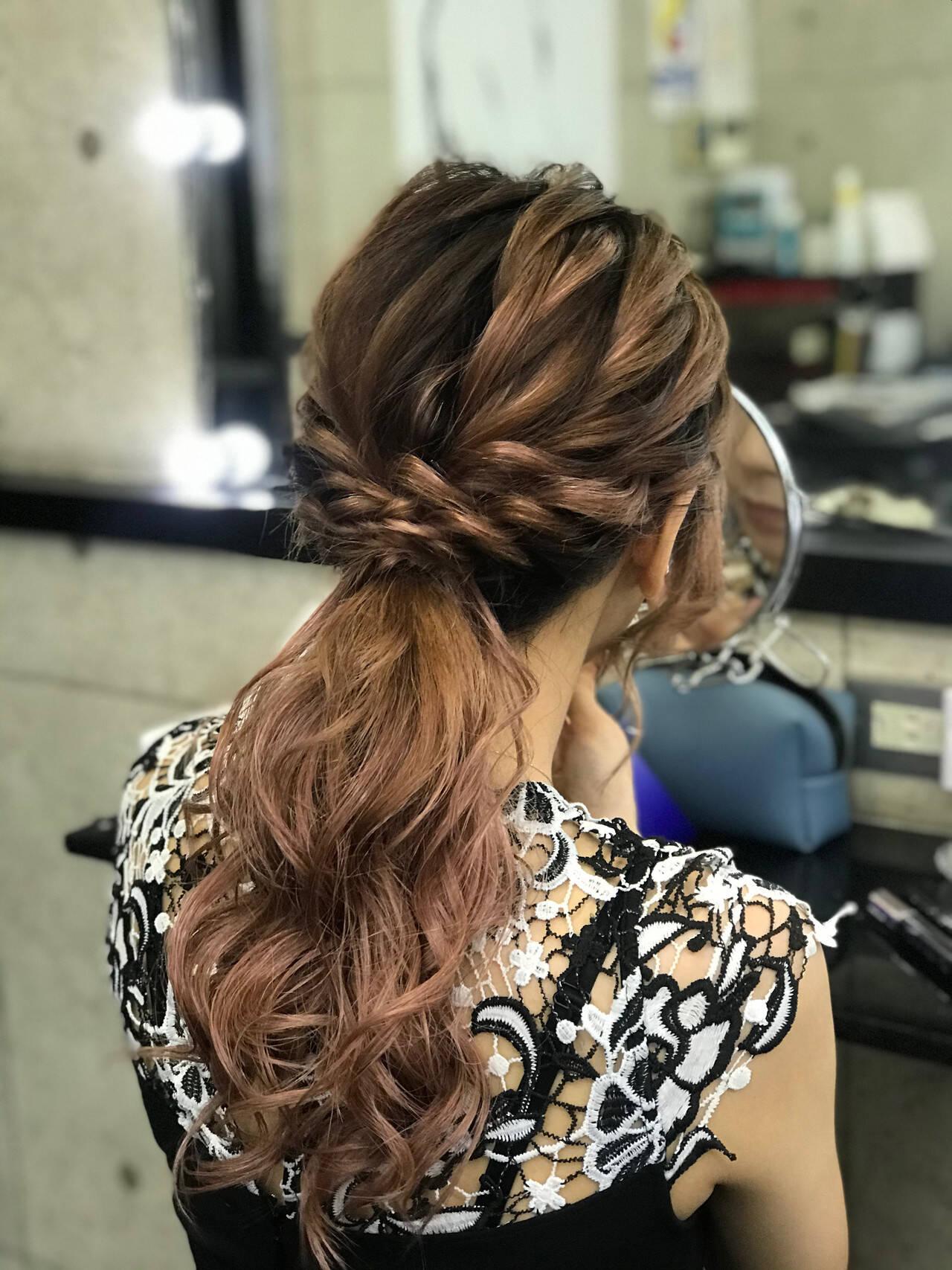 ローポニーテール 結婚式 エレガント ヘアセットヘアスタイルや髪型の写真・画像
