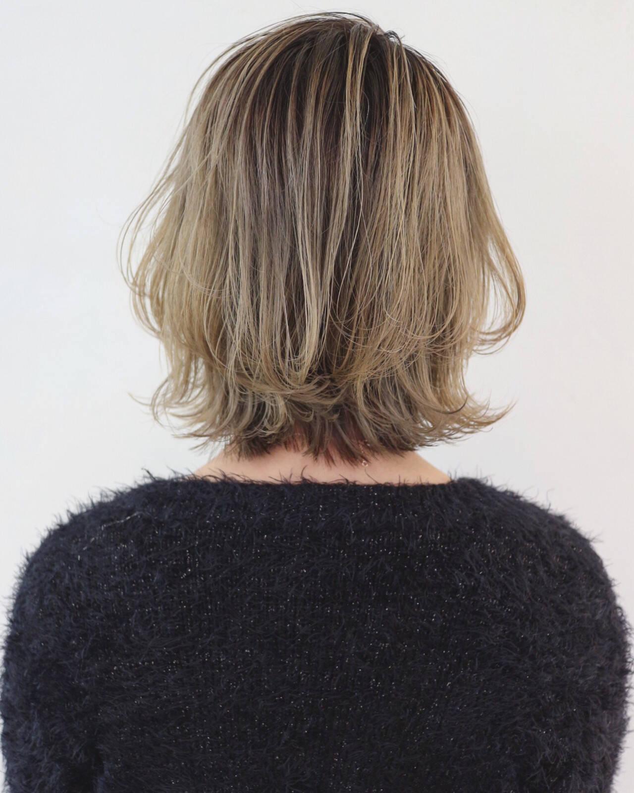 外国人風カラー グレージュ フェミニン ボブヘアスタイルや髪型の写真・画像