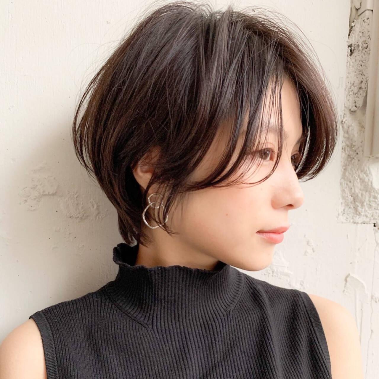 デジタルパーマ ショート ショートボブ インナーカラーヘアスタイルや髪型の写真・画像