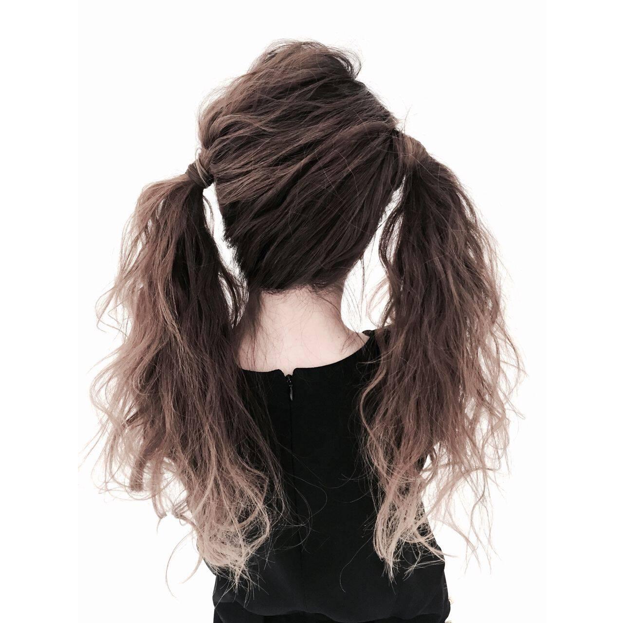 アップスタイル ヘアアレンジ ガーリー ツインテールヘアスタイルや髪型の写真・画像