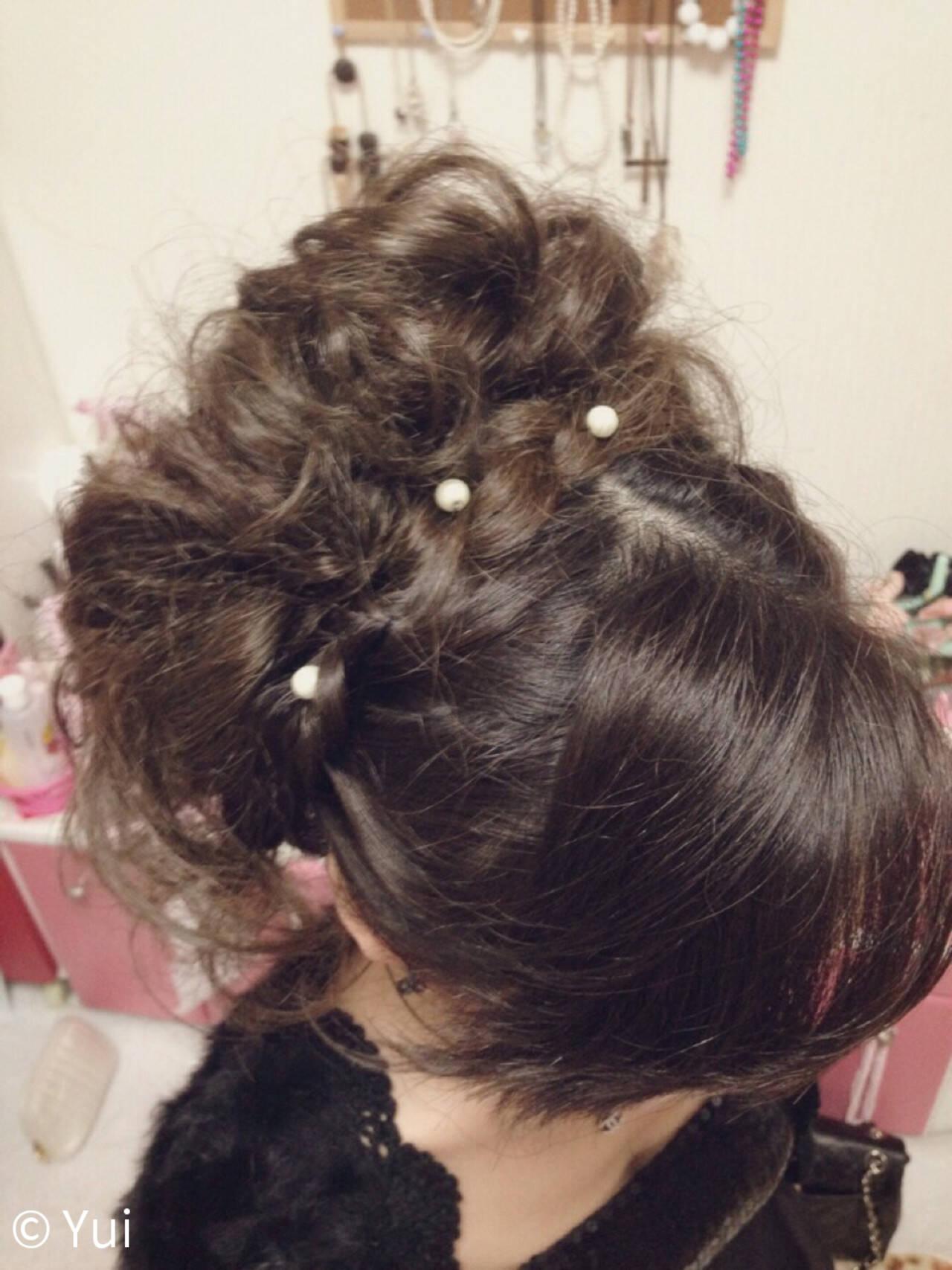 結婚式 パールアクセ ヘアアレンジ 甘めヘアスタイルや髪型の写真・画像