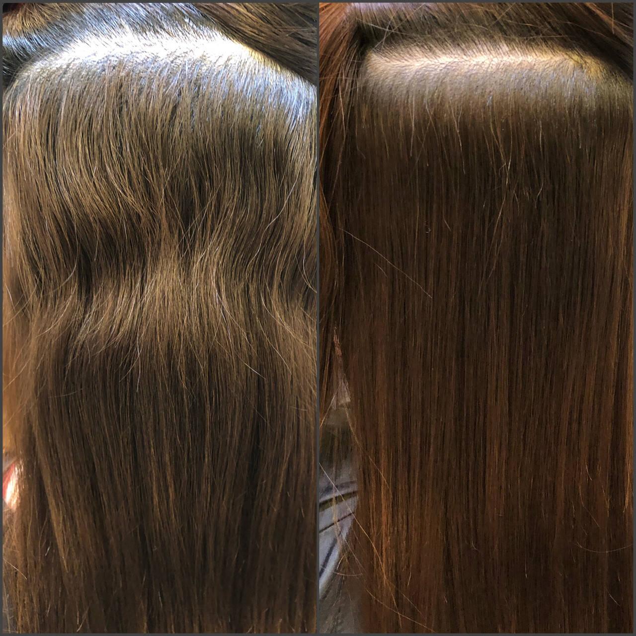 セミロング 縮毛矯正 ナチュラル 髪質改善トリートメントヘアスタイルや髪型の写真・画像