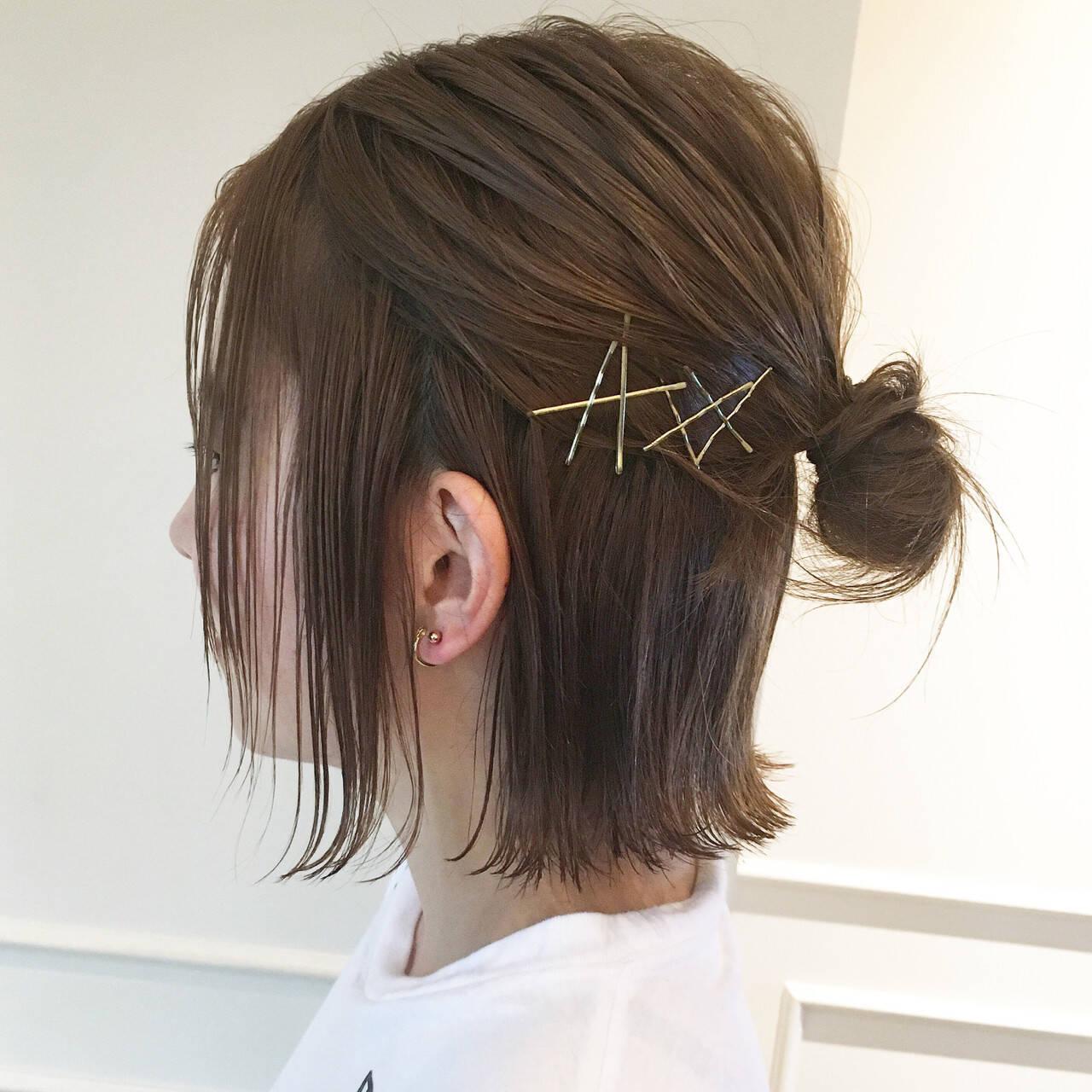 簡単ヘアアレンジ ボブ 大人女子 ガーリーヘアスタイルや髪型の写真・画像