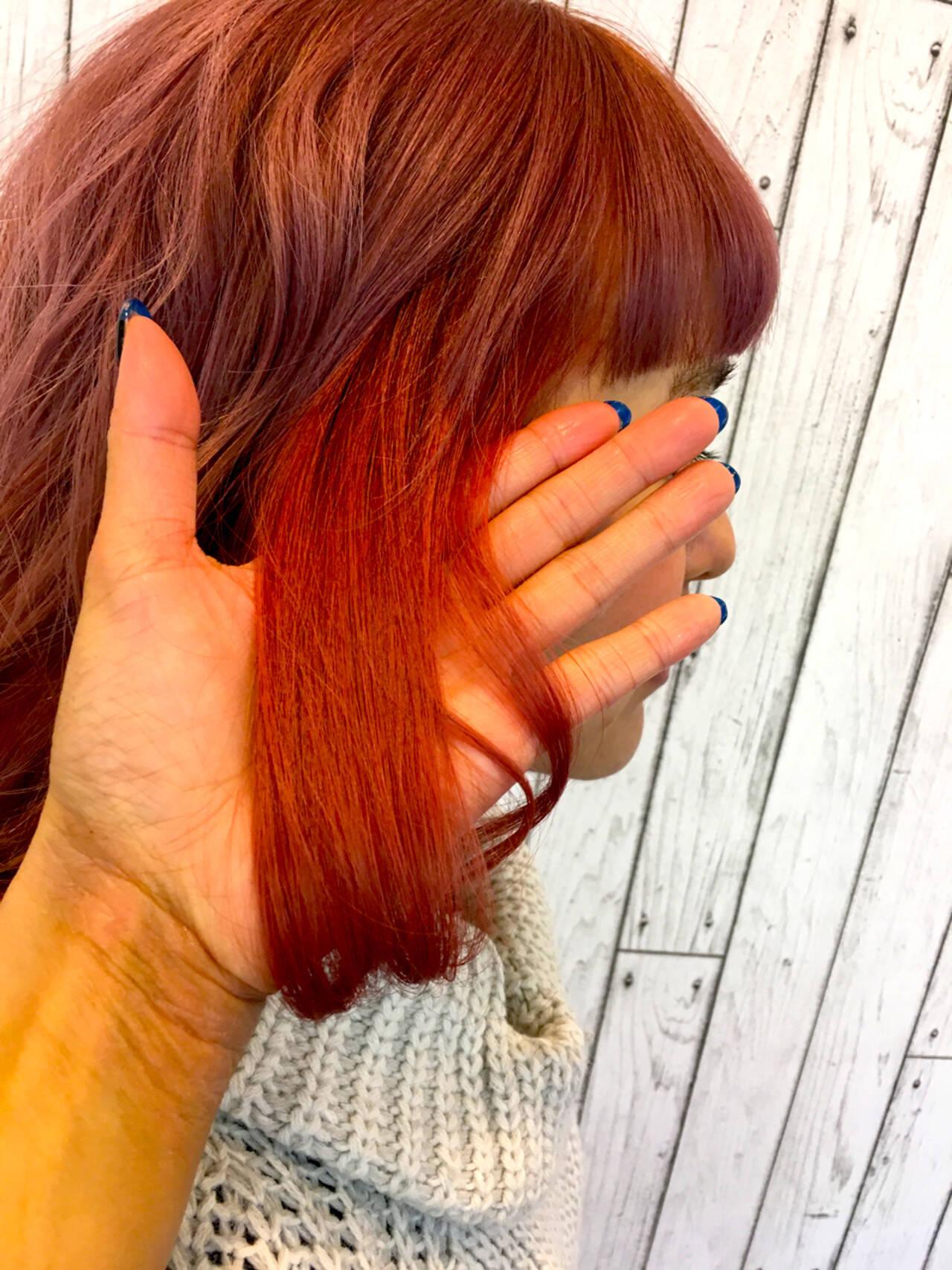 インナーカラー ミディアム 渋谷系 ガーリーヘアスタイルや髪型の写真・画像