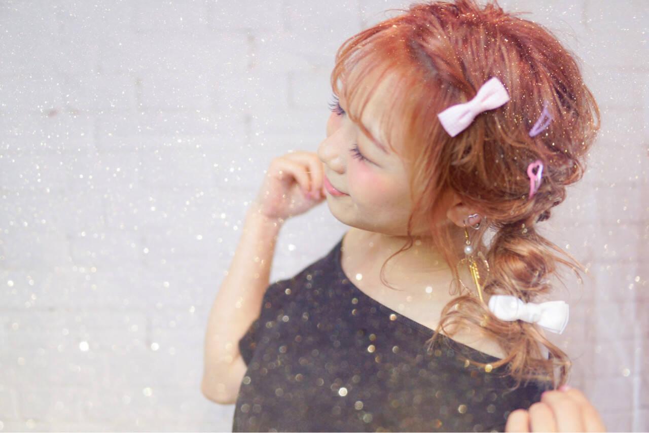 ガーリー ベージュ 簡単ヘアアレンジ セミロングヘアスタイルや髪型の写真・画像