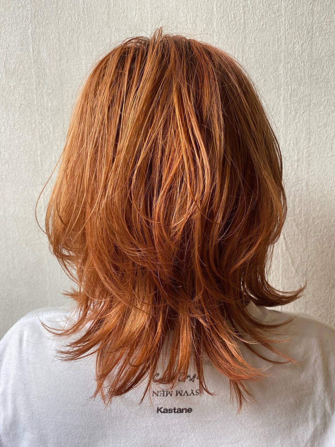 アプリコットオレンジ オレンジカラー オレンジベージュ ナチュラルヘアスタイルや髪型の写真・画像