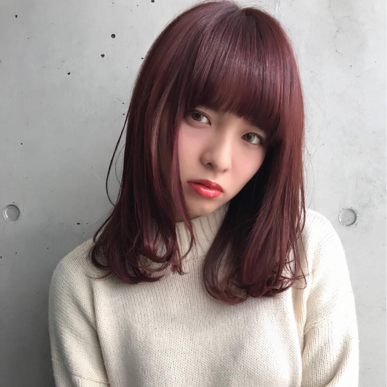ピンク ワンカール 艶髪 ストリートヘアスタイルや髪型の写真・画像