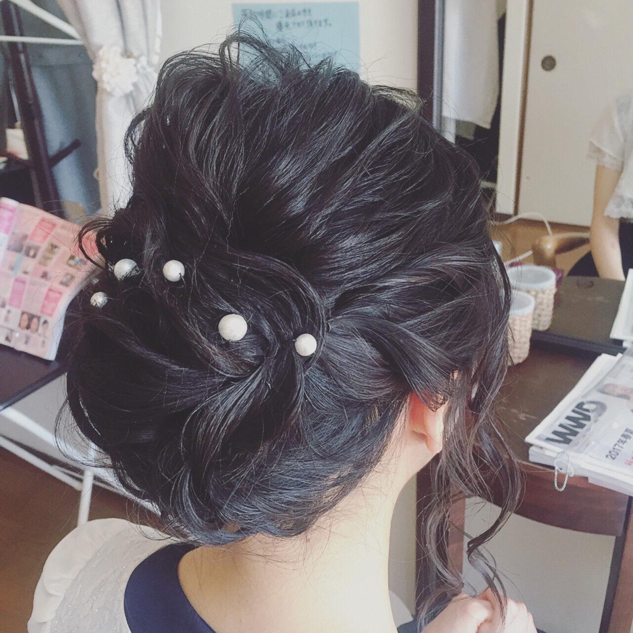 ミディアム ロープ編み 小顔 結婚式ヘアスタイルや髪型の写真・画像