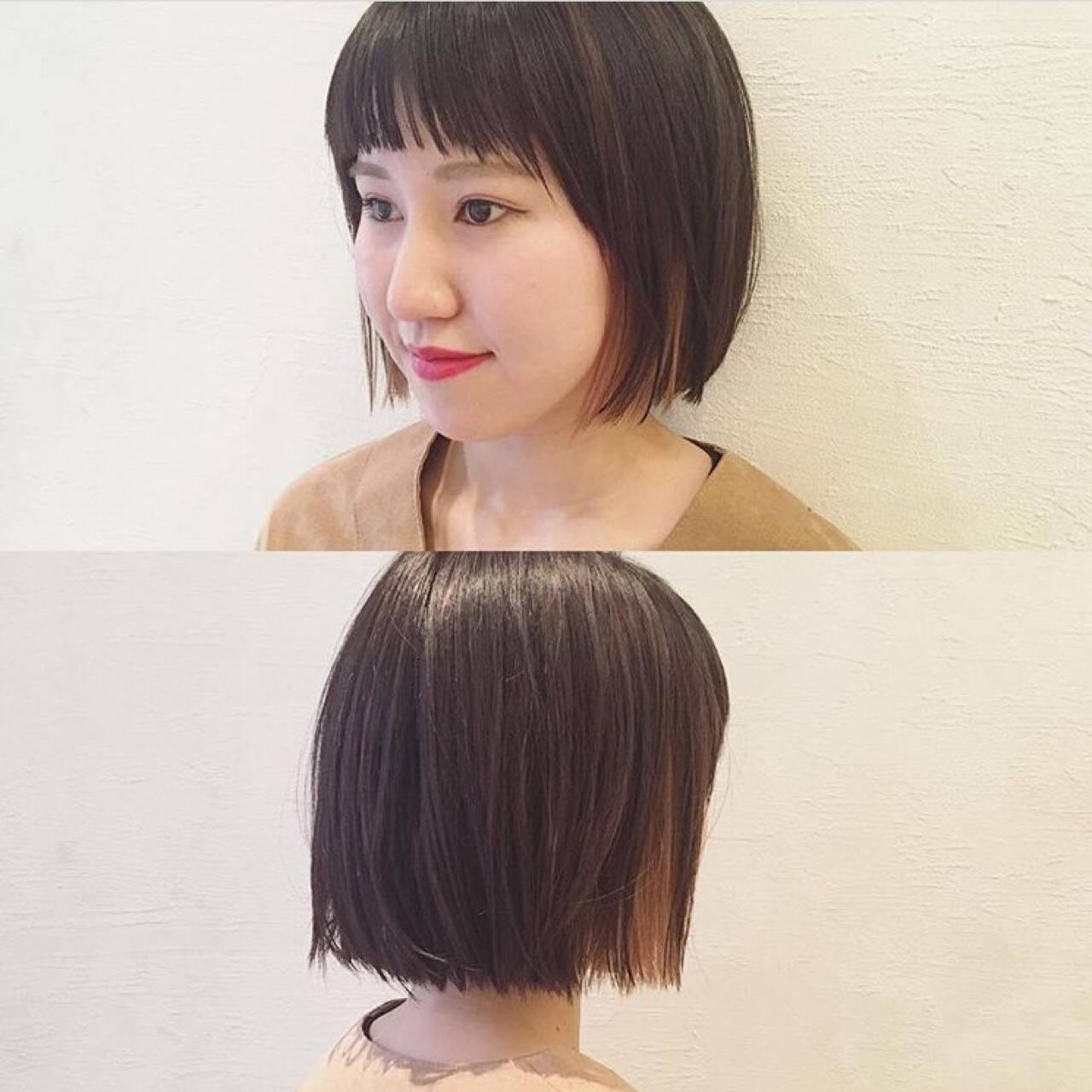 ダブルカラー 暗髪 切りっぱなし 黒髪ヘアスタイルや髪型の写真・画像