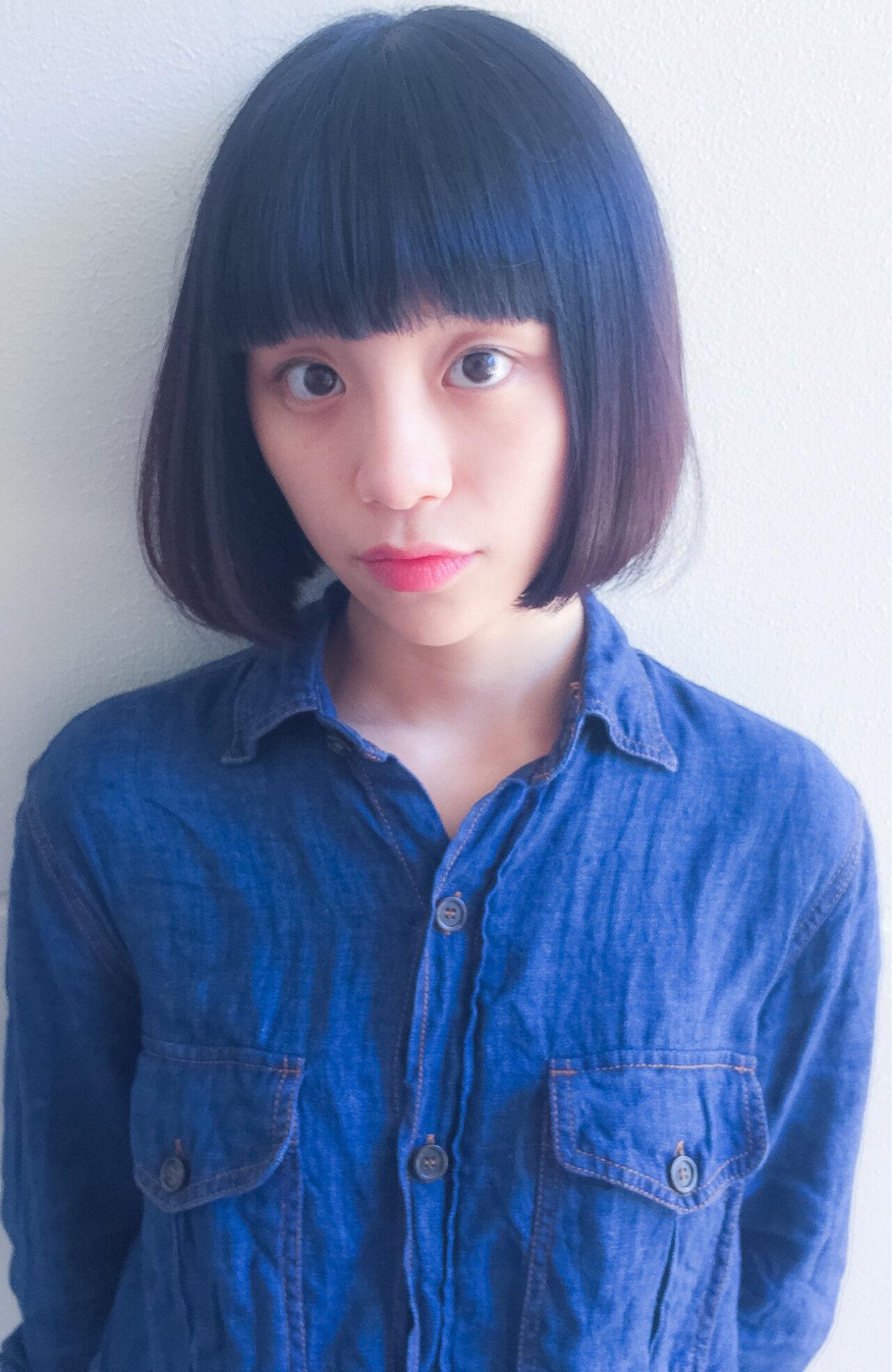 パーマ 黒髪 ピュア ガーリーヘアスタイルや髪型の写真・画像